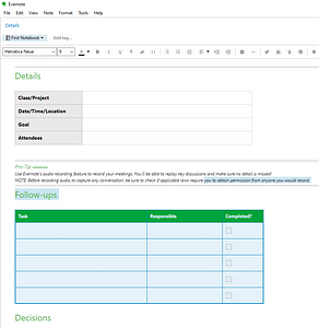 evernote meeting template screenshot