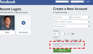 facebook terms and conditions checkbox