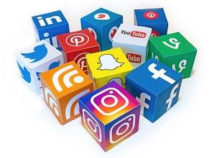 social media icon blocks