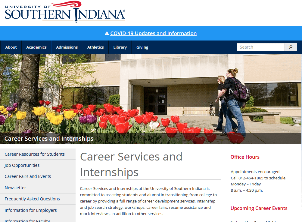 usi campus career service center website