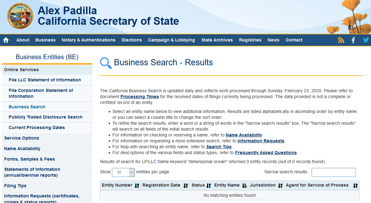 California business entity search screenshot
