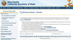 California business entity search screenshot