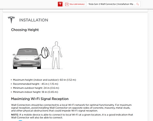 How to install tesla wall charger max and minimum height