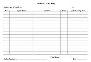 simple volunteer log