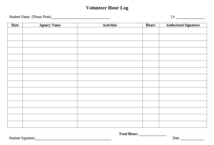 simple volunteer log